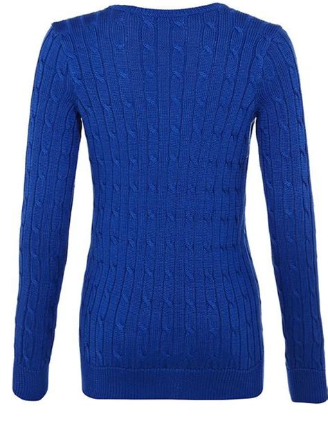 blue knit sweater ralph blue label classic cable knit sweater in blue