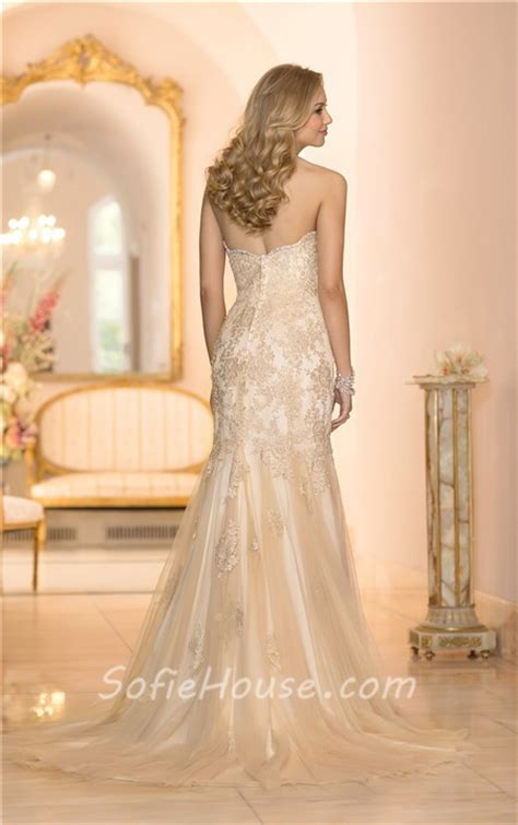 wedding dresses with gold beading gorgeous mermaid sweetheart gold colored tulle lace beaded