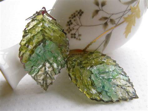 glass leaf autumn leaf earrings green leaf earrings stained glass