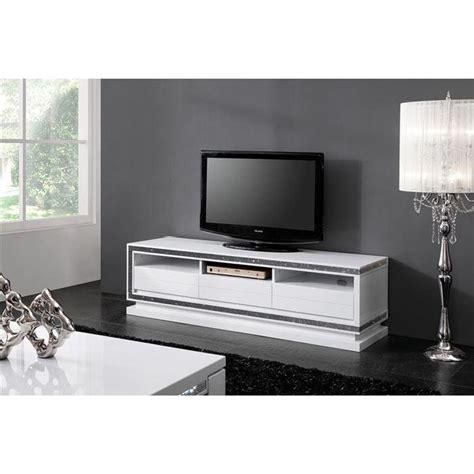 meuble tv design laque blanc haute brillance achat vente meuble tv meuble tv cdiscount