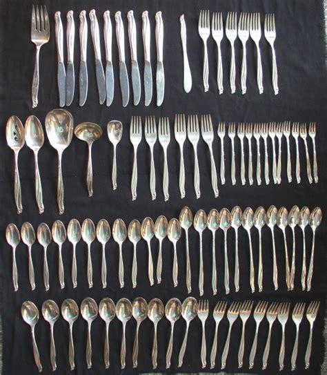 silverware rubber st wm rogers gaiety flatware set 83 pc in oak chest