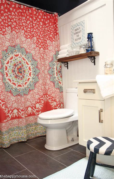 Navy Bathroom Accessories by Main Bathroom Makeover Reveal The Happy Housie