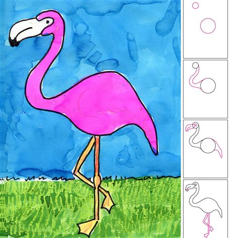 flamingo craft projects projects for how to draw a flamingo drawing