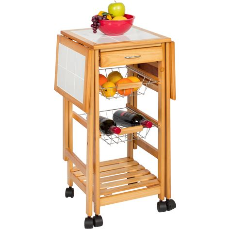 kitchen island rolling cart portable folding tile top drop leaf kitchen island cart table rolling trolley 816586027719 ebay