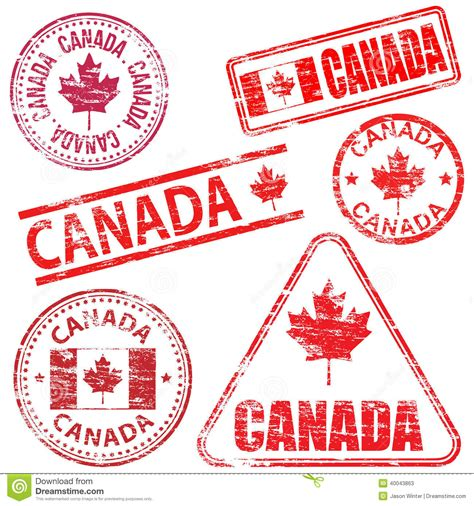 rubber sts canada card canada rubber sts stock vector image 40043863