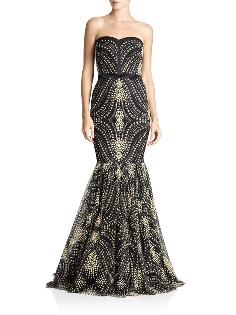 black beaded gown badgley mischka caviar beaded strapless gown in black lyst
