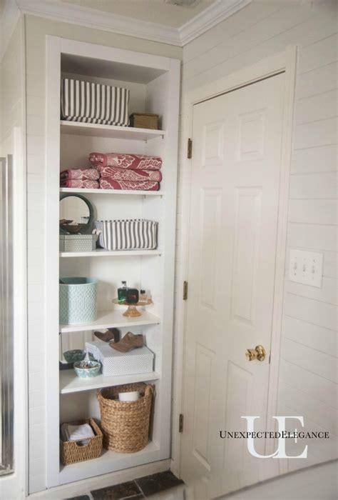 bathroom built in shelves diy built in shelving for my bathroom elegance
