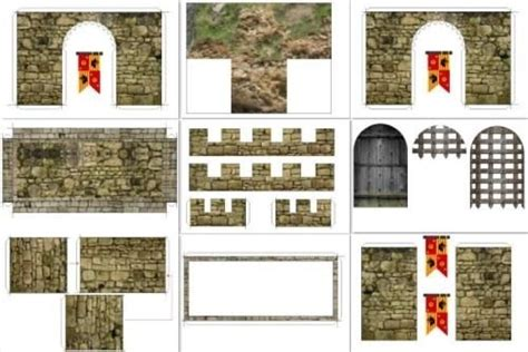 paper craft castle castle facade for mini figures in 1 25 scale by
