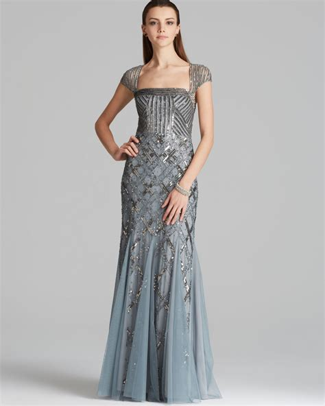 blue beaded gown papell gown cap sleeve beaded in blue lyst