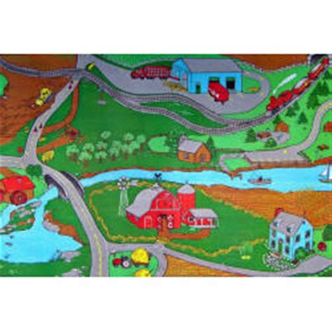 play rug with roads custom printed rugs 36 quot x60 quot farm play rug 216679 rugs