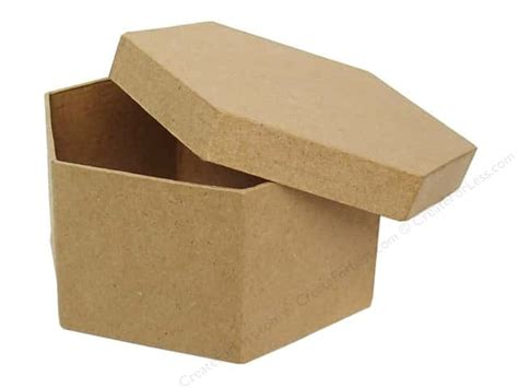 paper mache craft boxes paper mache hexagon box 4 1 2 in by craft pedlars 24