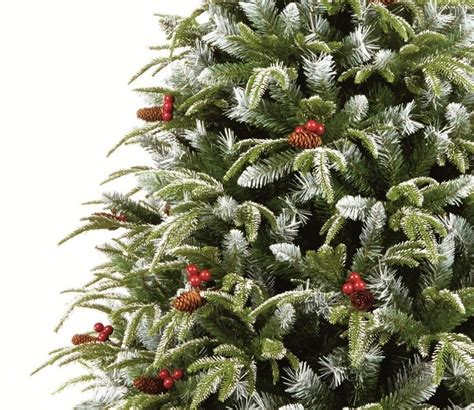 frosted tree with pine cones and berries premier frosted spruce tree gardensite co uk