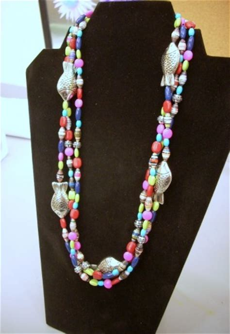 paper bead jewelry ideas mulit strand paper bead necklace vicki odell