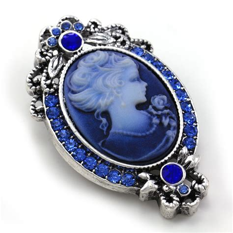 how to make cameo jewelry royal blue cameo brooch pin charm antique silvertone