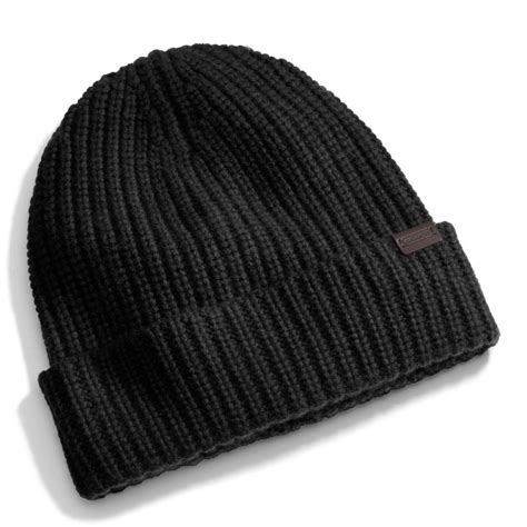 black knit hat coach solid knit hat in black for lyst