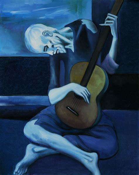 picasso paintings blue period guitar the guitarist by pablo picasso click image to