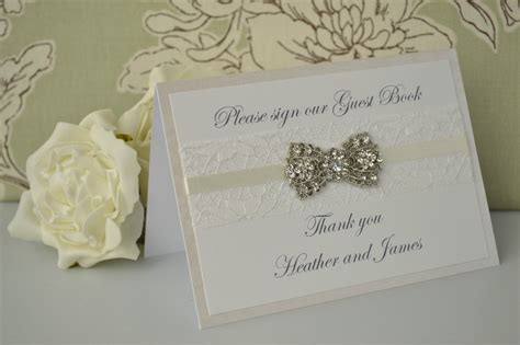 picture wedding guest book personalised wedding guest book sign vintage diamante