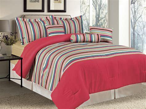 multi colored comforter sets 7 pc microfiber rainbow multi colored dots striped