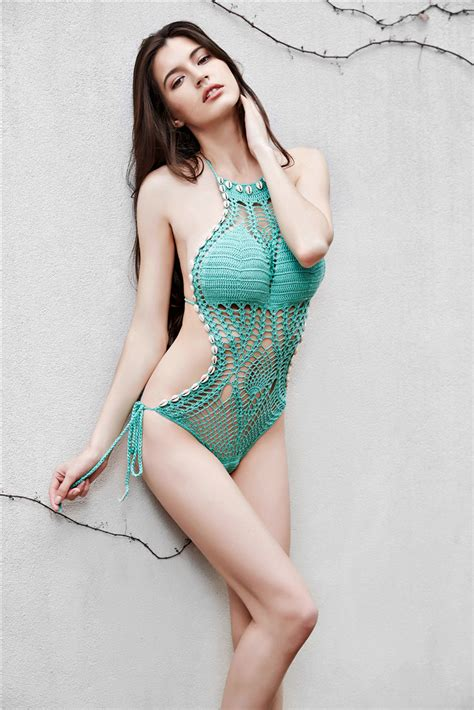 knitted bathing suits s crochet knitted swimsuit one swimwear