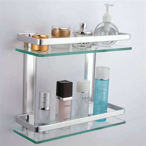 glass shelving bathroom kes aluminum bathroom glass rectangular shelf wall mounted