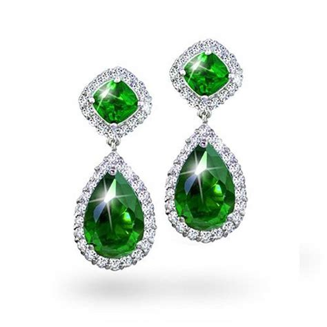 emerald jewellery emerald green color cz teardrop pave dangle earrings