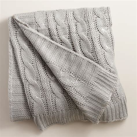 cable knit throw silver metallic cable knit throw world market