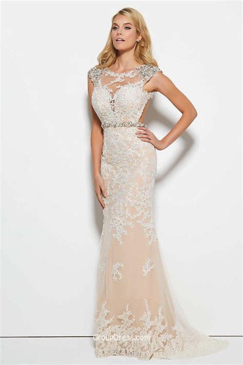 beaded prom dress sheath beaded cap sleeve illusion keyhole prom dress