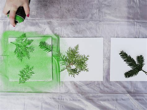 spray painting canvas turn leaves and foliage into diy canvas wall hgtv