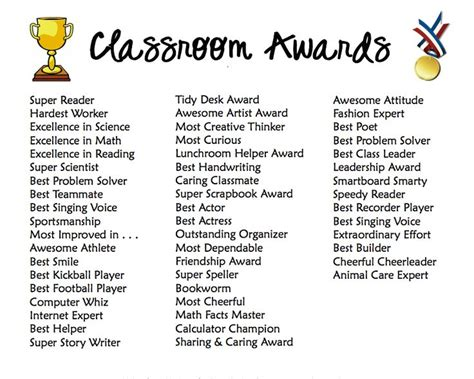 classroom award ideas end of the year