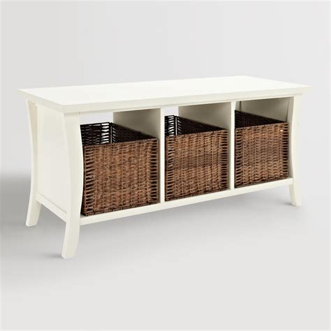 white entryway bench white wood cassia entryway storage bench with baskets