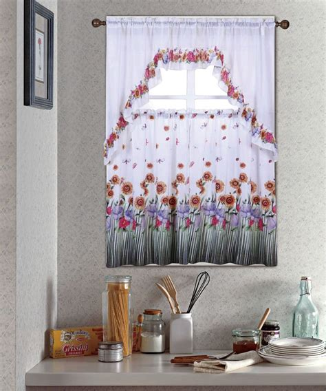 kitchen curtain sets blossom complete tier swag set kitchen curtain set