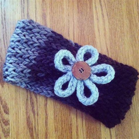 ear warmer loom knitting pattern loom knit ear warmer gray black and brown with flower