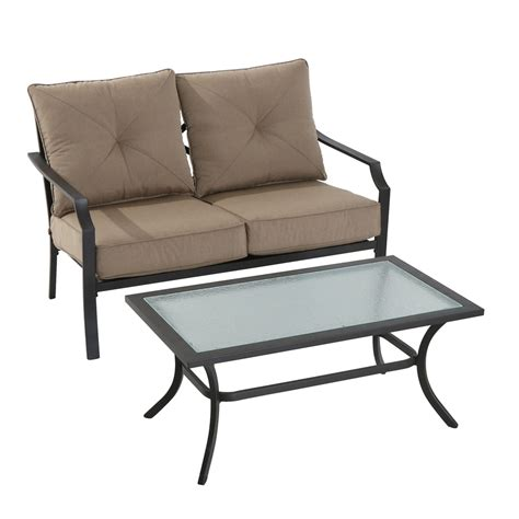 steel patio furniture sets shop garden treasures vinehaven 2 brown steel patio