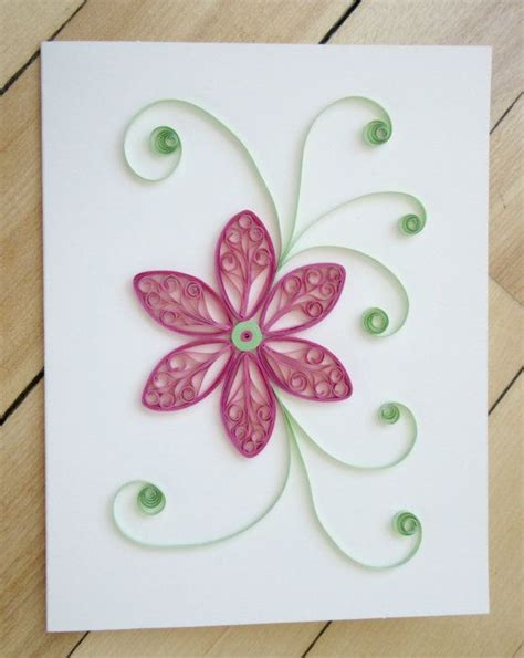 paper flowers for card quilling flower card paper quilled floral card pink