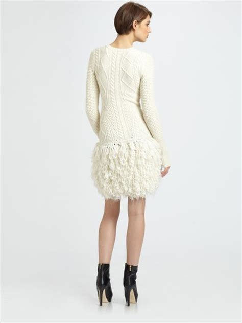white cable knit sweater dress mcq by mcqueen cable loop knit wool sweater