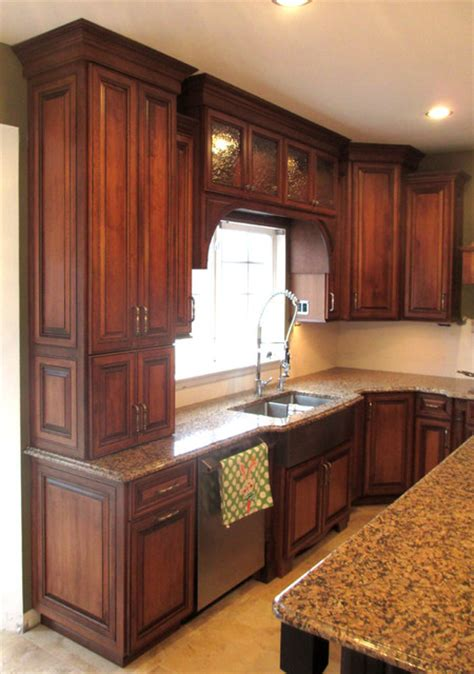 Kitchen Cabinet Refacing maple cabinets with cherry stain and mocha glaze