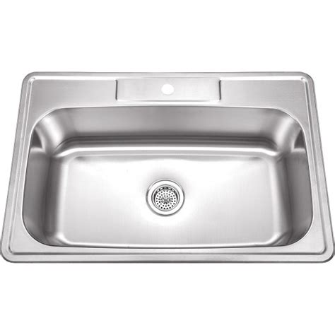 kitchen single sink 33 inch stainless steel top mount drop in single bowl