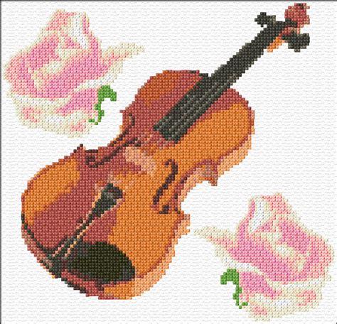 knitting violin cross stitch violin simpl xstitch chart design