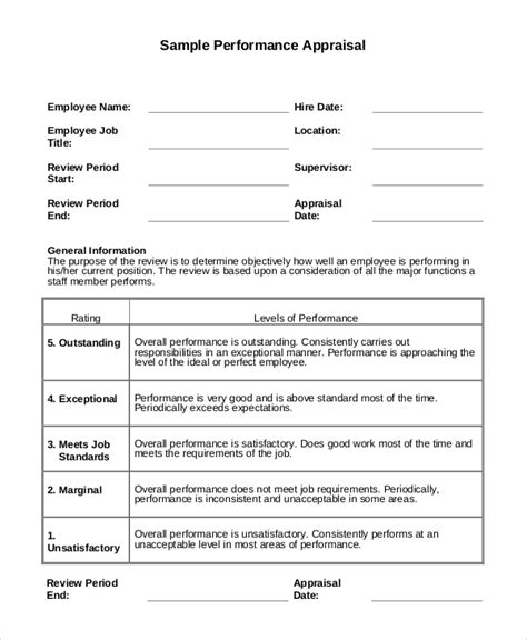 performance appraisal example 9 samples in pdf word