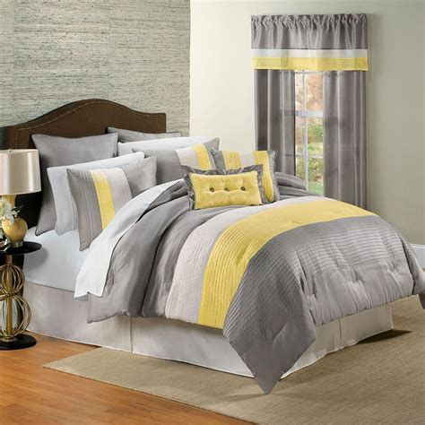 how to set a bed yellow and gray bedding that will make your bedroom pop