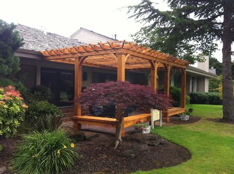 pergola with bench cedar pergola with built in bench seating traditional
