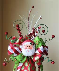 santa tree topper lighted santa tree topper tree topper bow santa