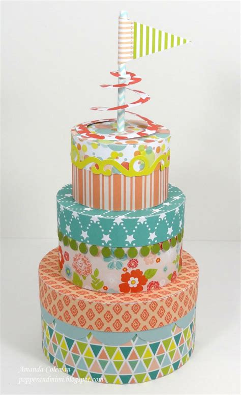 paper birthday cake craft popper and mimi stackable birthday cake boxes and paper