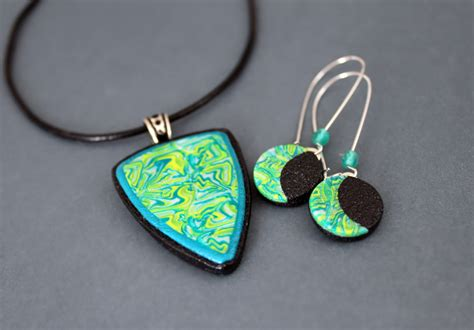 polymer jewelry forest jewelry set in polymer clay by earthexpressions