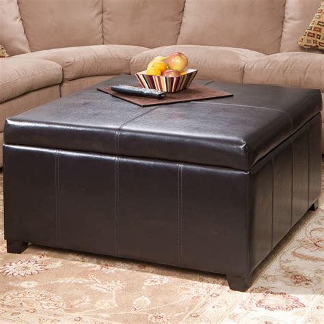 storage ottoman table large espresso leather storage ottoman coffee table ebay