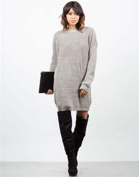 knitted sweater dress oversized mixed knit sweater dress sweater dress brown
