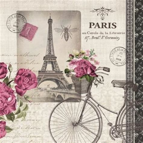 decoupage words eiffel tower paper napkin for decoupage bicycle