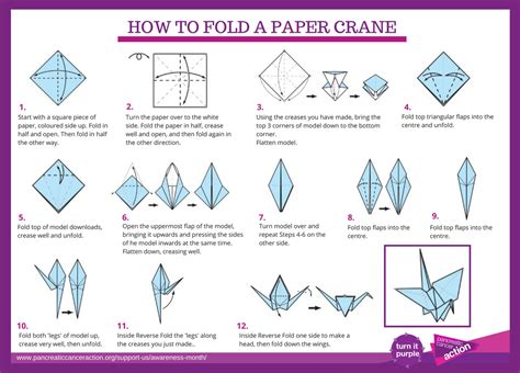 fold origami crane make it purple 183 pancreatic cancer