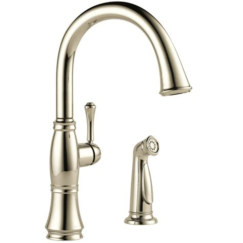 polished nickel kitchen faucets delta cassidy single handle standard kitchen faucet with side sprayer in polished nickel 4297 pn