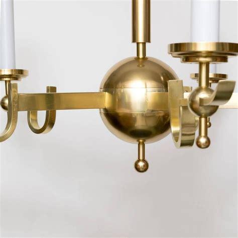 modern brass chandelier scandinavian modern chandelier five arm polished brass banded center sphere for sale at 1stdibs